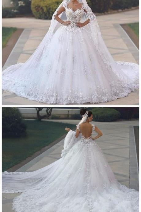 Sexy See Through Bodice Wedding Dress Royal Tail Flowers Luxury Wedding Gowns Bride Dresses M6740