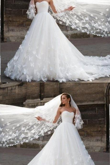 Beautiful Wedding Dresses with Long Train Sweetheart Butterfly Simple Bridal Gown M6741