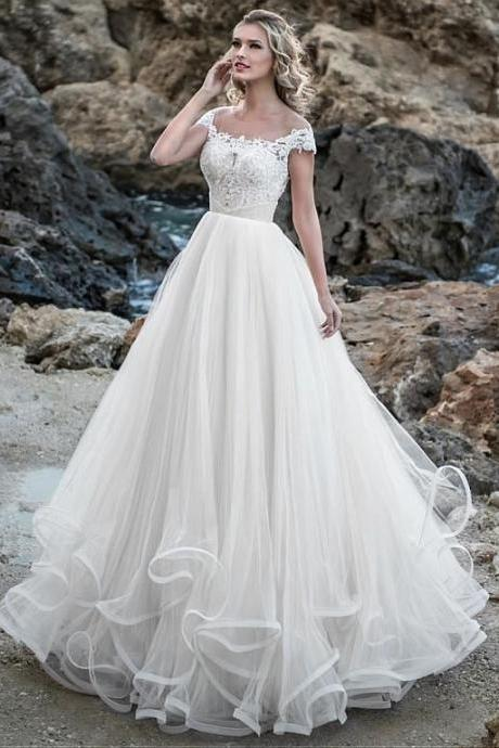 Glamorous Tulle Jewel Neckline A-line Wedding Dress With Beaded Lace Appliques & Ruffles M6792