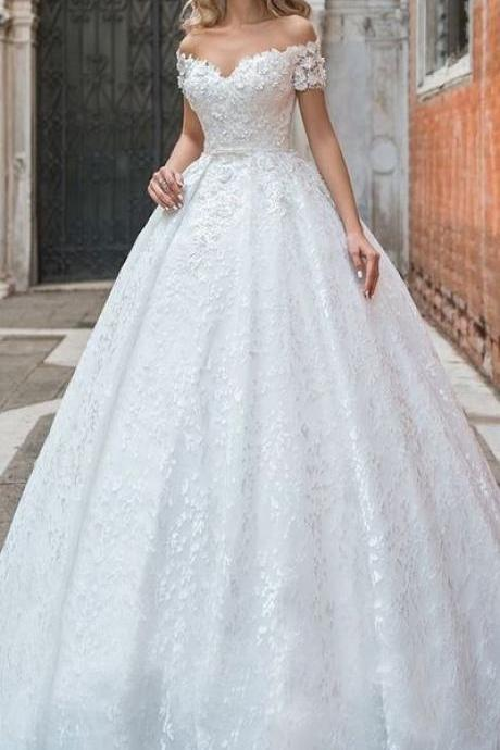 Modest Lace Off-the-shoulder Neckline Ball Gown Wedding Dress With 3D Lace Appliques & Beadings & Belt M6793