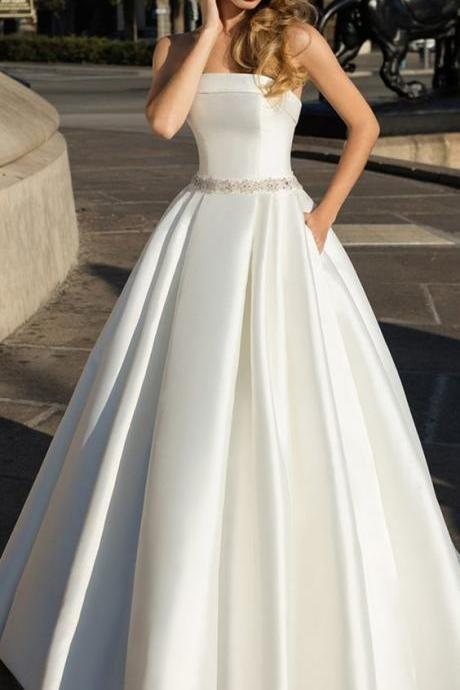 Satin Stapless Neckline A-line Wedding Dress With Beadings & Bowknots & Pockets M6795