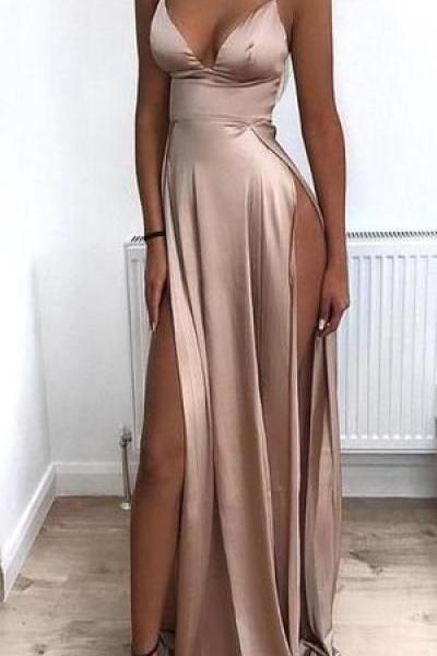 2019 Cheap Spaghetti Straps Side Split Simple Modest Sexy Prom Dresses, Evening dresses M6827