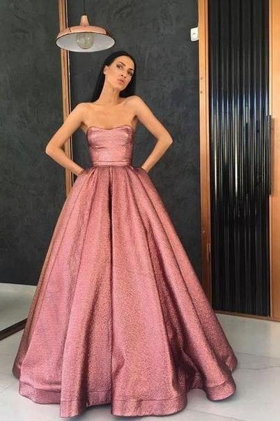 strapless long a-line pink evening dress,sexy 2019 prom dress ,with satin party dress elegant long M6828