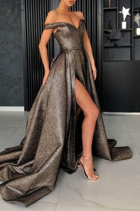 Sexy Off the Shoulder A-line Prom Dress,Long Evening Dress with High Split M6829