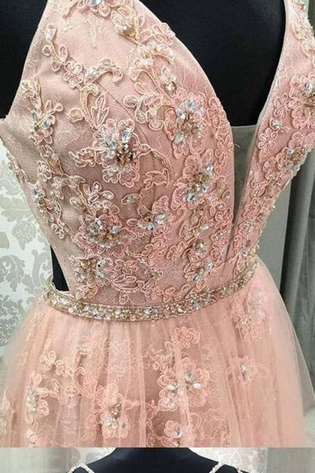 Pink Prom Dresses with Straps Aline Floor-length Appliques Long Lace Open Back Prom Dress M6830