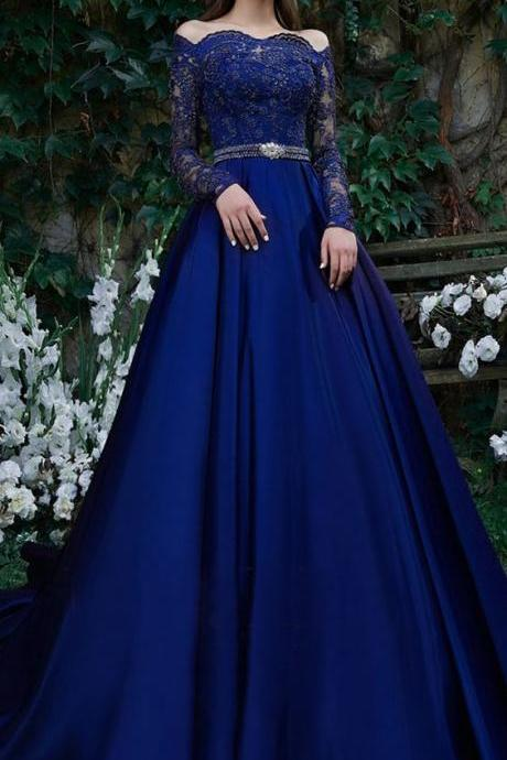 Beautiful Tulle & Satin Off-the-shoulder Neckline Floor-length A-line Evening Dresses With Belt & Beaded Lace Appliques M6835