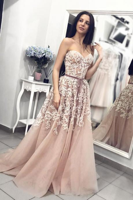 Champagne sweetheart neck tulle lace long prom dress, tulle evening dress M6838