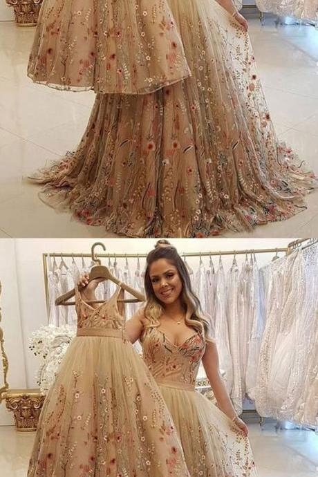 Champagne tulle lace long prom dress, tulle evening dress M6841