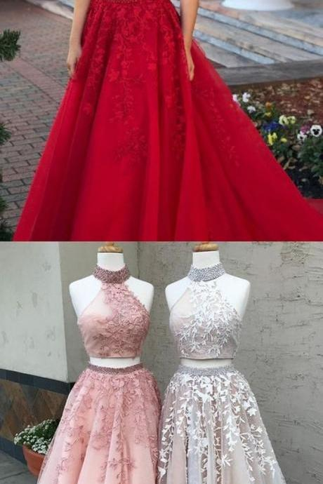 elegant 2 pieces prom party dresses with appliques, fashion formal evening gowns M6842