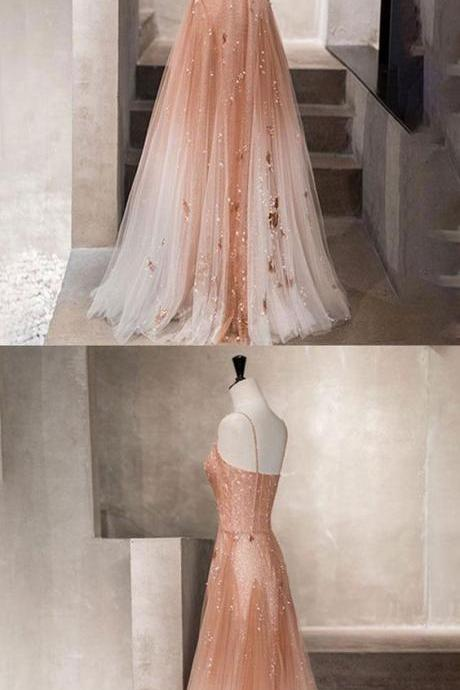 Unique champagne tulle long prom dress, tulle evening dress M6843