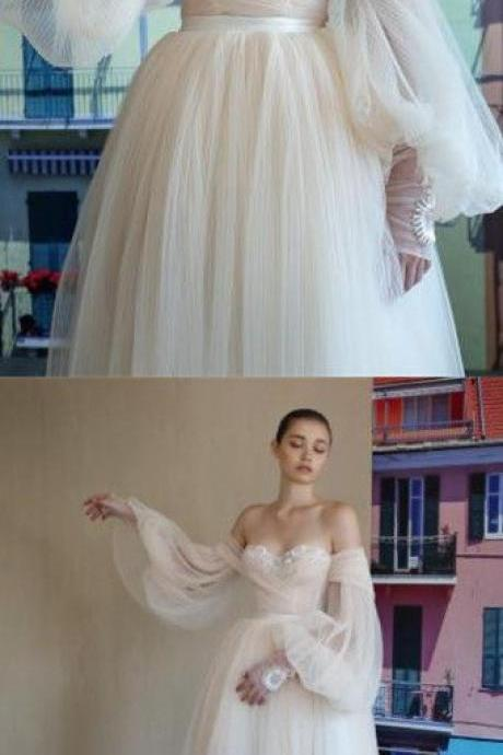 Elegant Off Shoulder Long Sleeves Pearl Pink Tulle Wedding Dress with Appliques M6847