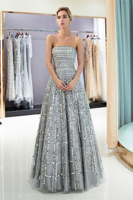 Silver Tulle Sequins Strapless Backless Floor Length Prom Dress M6848