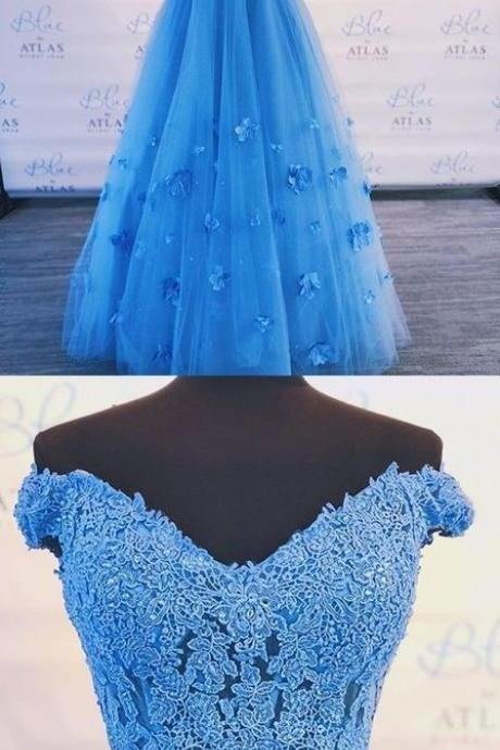 2 piece blue of shoulder lace tulle prom dress , v neck prom gown M6850