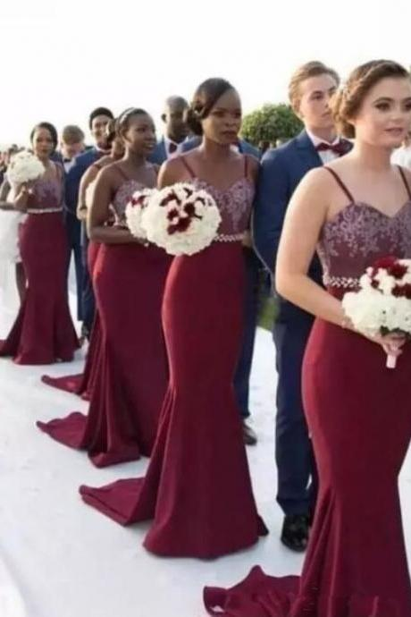Spaghetti Burgundy Mermaid Bridesmaid Dresses, Lace Top Beaded Bridesmaid Dresses, Cheap Popular Bridesmaid Dresses M7130
