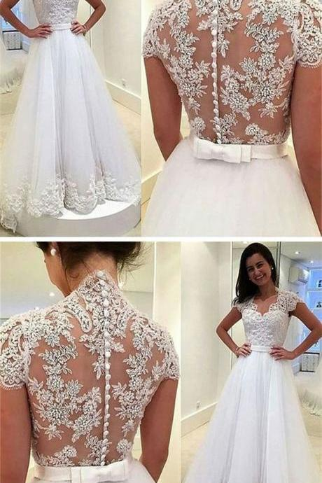 Modern V-neck Lace wedding dresses, Appliques Cap Sleeves elegant bride dresses, A-line Tulle Wedding party Dress With Button M7323