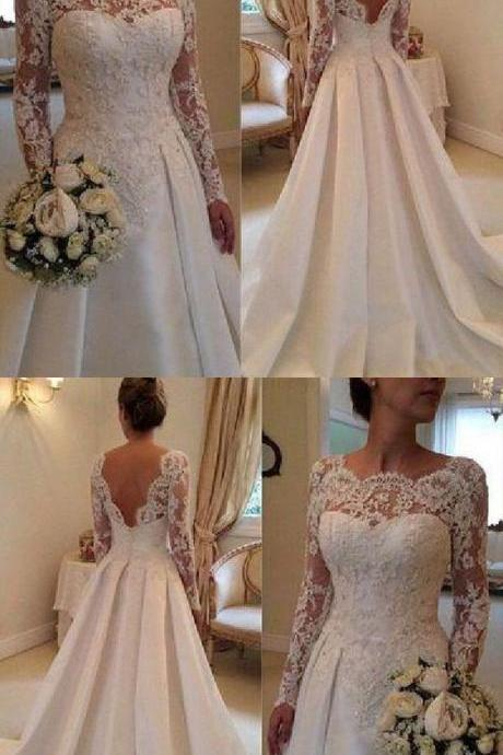 Custom Made Wedding Dresses Backless Charming Custom Made Wedding Dresses,Long Wedding Dresses M7324