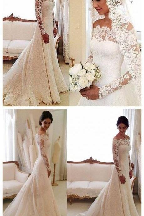 White Off-the-shoulder Lace Long Sleeve Bridal Gowns Cheap Simple Custom Made Wedding Dress M7325