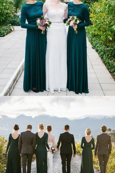 Elegant Long Sleeves Backless Green Bridesmaid Dresses M7330