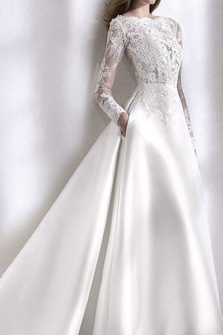 Elegant Tulle & Satin Bateau Neckline A-Line Wedding Dress With Lace Appliques & Beadings & Pockets M7522