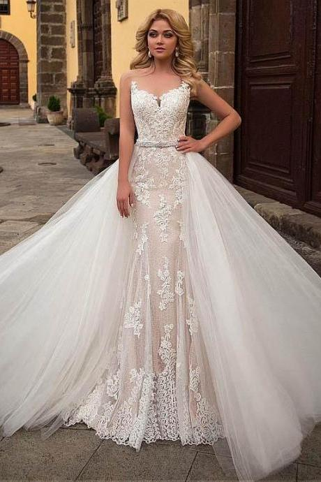 Modest Sleeveless Church Train Wedding Dress with Removable Skirt M7526