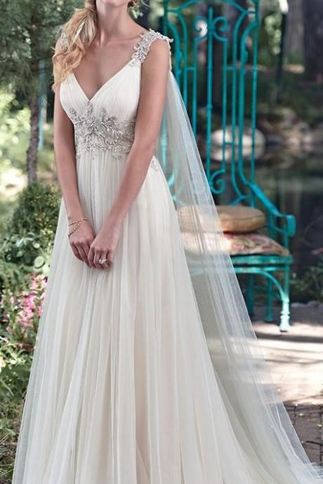 Elegant Tulle V-neck Neckline A-line Wedding Dresses With Embroidery M7542