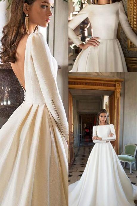 A-Line Bateau Long Sleeves Backless Court Train Wedding Dress M7682