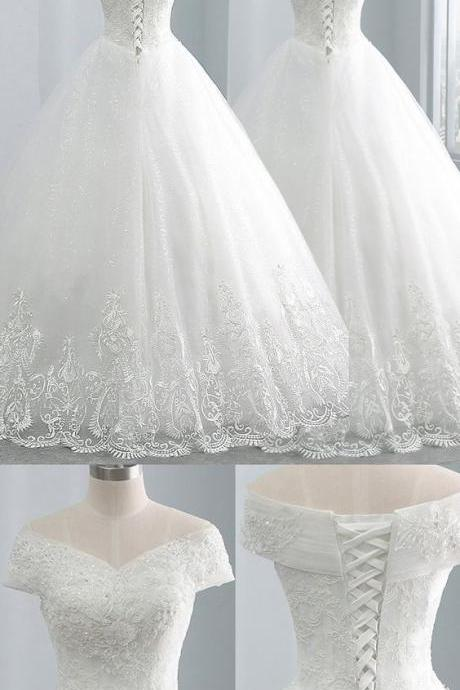 Delicate Tulle Off-the-shoulder Neckline Ball Gown Wedding Dresses With Beadings & Lace Appliques M7723