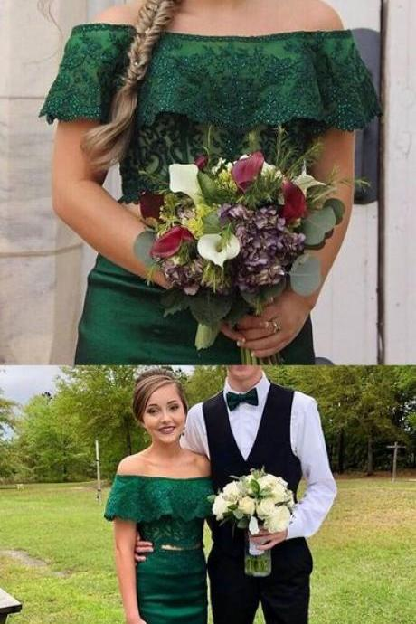 Gorgeous Custom Made Two Pieces Elegant Off Shoulder Green Mermaid Prom Dress M7947