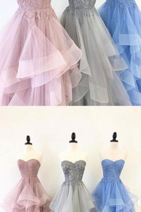 Sweetheart Neck Multi-color Tulle Layered Long Senior Prom Dress, Lace Evening Dress M8015