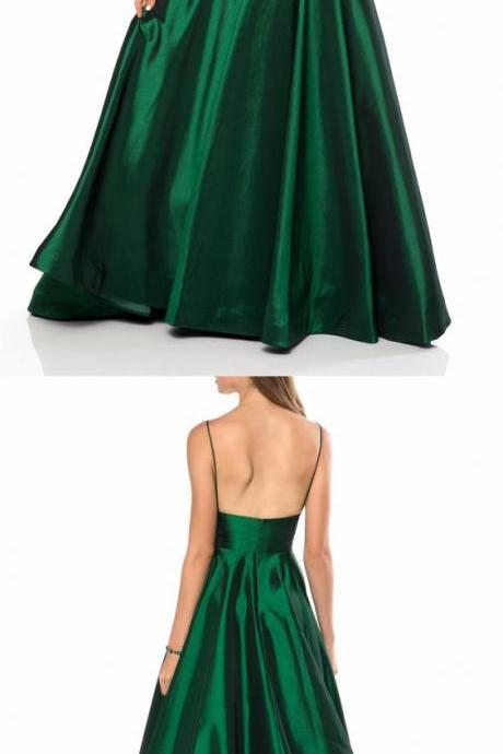 Fashion Dark Green Spaghetti Straps A-Line Prom Dress,Sexy Backless Party Dress,V-Neck Long Cheap Dress M8045