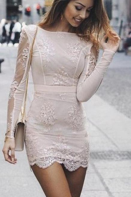 Applique Prom Dress,Sheer Sleeve Prom Dress,Bodycon Prom Dress M8047