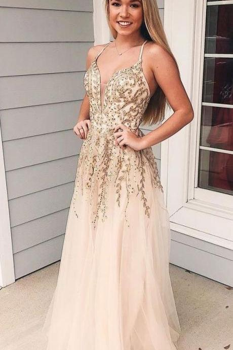 Charming Appliques Spaghetti Straps Tulle Long Prom Dress, Sexy V neck Evening Dress M8048