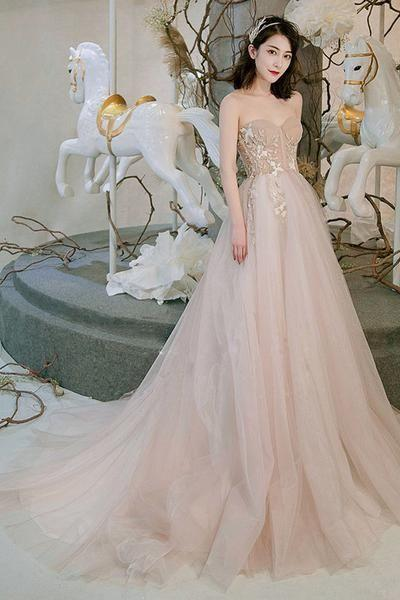 Champagne sweetheart tulle long prom dress, champagne evening dress M8052