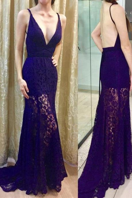 Beautiful Charming Prom Dress,Lace Prom Gown,Mermaid Prom Dress,V-Neck Prom Gown M8053