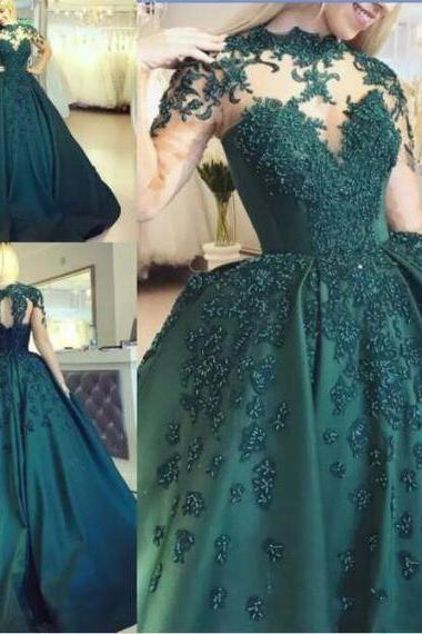 Hunter Green Ball Gown Prom Dresses With Illusion Bodice Long Sleeves M8057