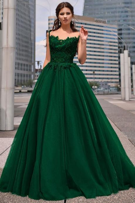 Tulle Jewel Neckline Floor-length A-line Prom Dresses With Beaded Lace Appliques M8058