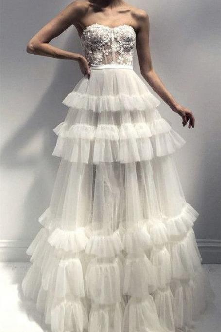 Lace Tulle Layered Wedding Dresses,Strapless Ball Gown M8059