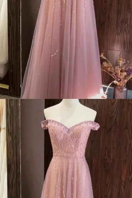 Fashion Off Shoulder Tulle Floor Length Homecoming Dress, Long Prom Dresses with Beaded M8061