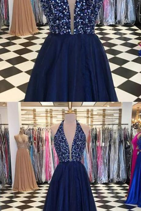 Shinning sequins V neck navy blue tulle backless long prom dresses M8063