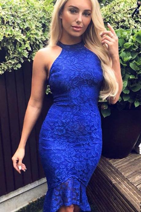 Mermaid Crew High-Low Royal Blue Lace Homecoming Dress M8217
