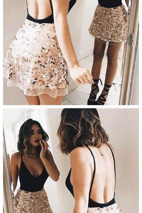 A-line Straps Short/Mini Prom Dress Sequins Prom Dresses Short Homecoming Dress M8225