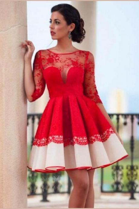 Red Homecoming Dresses, Prom Dress Lace, Lace Red Prom Dress, Sexy Prom Dress Lace Prom Dresses M8227