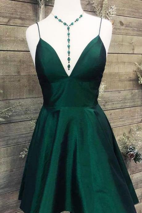 Short Dark Green Prom Dress Homecoming Dress, 2019 Simple Prom Dress with Spaghetti Straps M8229