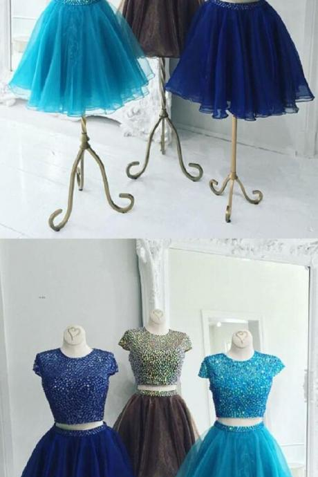 Beautiful Two Piece Stunning Two Piece Jewel Cap Sleeves Short Royal Blue Organza Homecoming Dress Beaded M8230