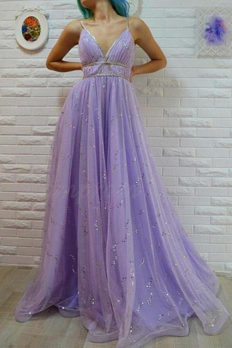 A-Line Spaghetti Straps Floor-Length Lavender Prom Dress with Sequins M8234
