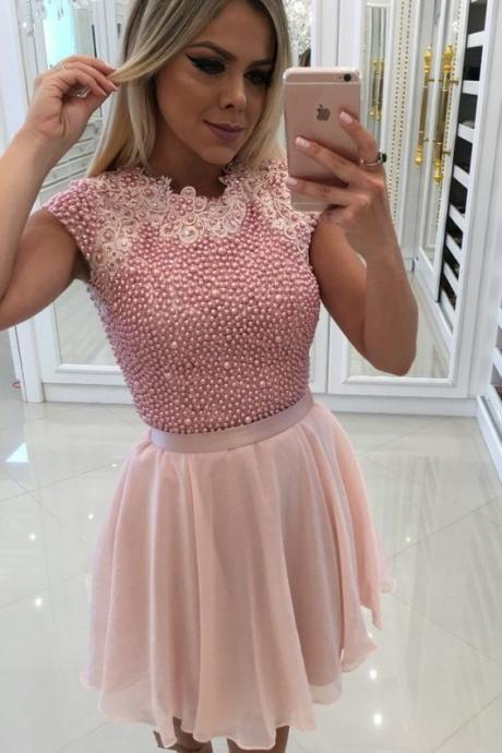 A-Line Pink Chiffon Homecoming Prom Dress with Pearls Appliques M8240