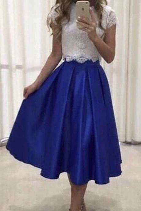 two piece prom dresses lace crop top M8337