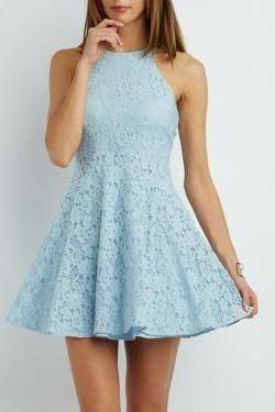 Sexy Mini Cocktail Dress, Lace Blue Short Cocktail Dress, 2019 Prom Dress M8341