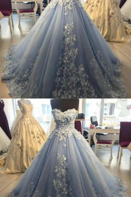 Prom Dress 2019 Elegant Lace Appliques Light Blue Tulle Ball Gowns Prom Dresses 2019 M8344