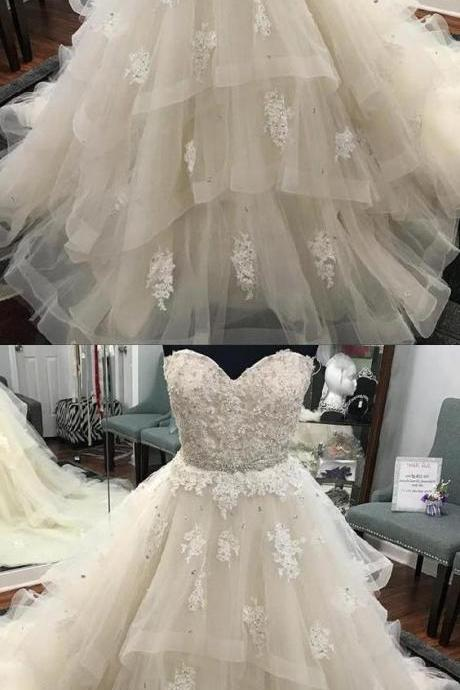 Popular Ball Gown Wedding Dresses Lace Sweetheart Beaded Sashes Ruffles Tulle Ball Gowns Wedding Dresses M8347